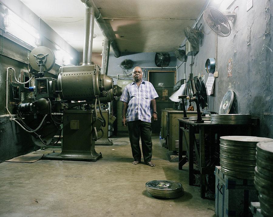 K.Kabaleeswaran, projectionniste du Film Chamber Cinema de Chennai.